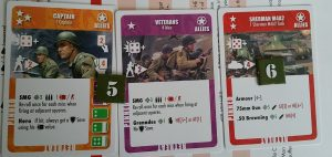 Unit cards for an American captain with attached veterans and a Sherman